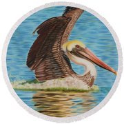 Smooth Landing  Round Beach Towel