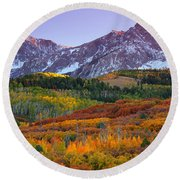 Sneffels Sunrise Round Beach Towel