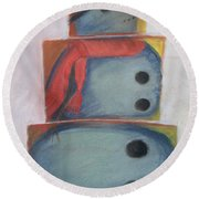 S'no Man Round Beach Towel by Claudia Goodell