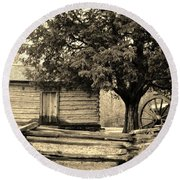 Snodgrass Cabin And Cannon Round Beach Towel