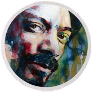 Snoop Dogg Round Beach Towel by Laur Iduc