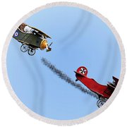 Snoopy And The Red Baron Round Beach Towel