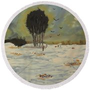 Round Beach Towel featuring the painting Snow At Christmas by Pamela  Meredith