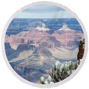 Snow At The Grand Canyon Round Beach Towel