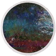 Round Beach Towel featuring the painting Snow At Twilight by Mary Wolf