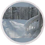 Snow Bound Cottage Round Beach Towel