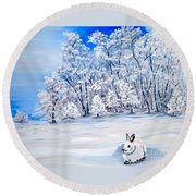 Round Beach Towel featuring the painting Snow Bunny by Phyllis Kaltenbach