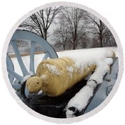 Snow Cannon Round Beach Towel by Michael Porchik
