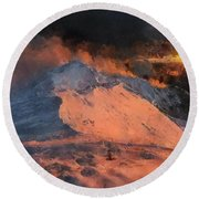 Snow Cap Sunset Round Beach Towel