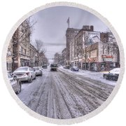 Snow Covered High Street And Cars In Morgantown Round Beach Towel