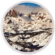 Snow Covered Landscape, Mammoth Lakes Round Beach Towel