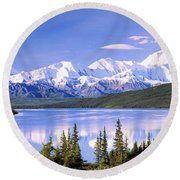 Snow Covered Mountains, Mountain Range Round Beach Towel