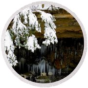 Snow Covered Pine Round Beach Towel