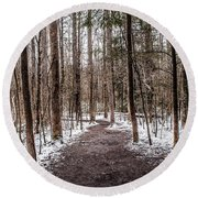 Round Beach Towel featuring the photograph Snow Covered Trail by Debbie Green