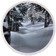Snow Covered Trail Round Beach Towel