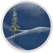 Round Beach Towel featuring the digital art Snow Covered Tree And Mountains Color by David Dehner