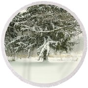 Snow-covered Trees Round Beach Towel
