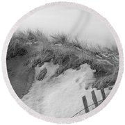 Round Beach Towel featuring the photograph Snow Covered Sand Dunes by Eunice Miller