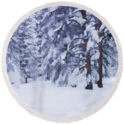 Snow-dappled Woods Round Beach Towel
