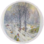 Round Beach Towel featuring the painting Snow Day by Donna Tucker