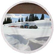 Round Beach Towel featuring the photograph Snow Daze by Fiona Kennard