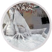 Snow Dragon 3 Round Beach Towel by Terry Reynoldson