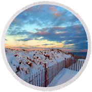 Snow Dunes At Sunrise Round Beach Towel