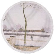 Snow Effect Effet De Neige Pastel On Paper C. 1880-1885 Round Beach Towel