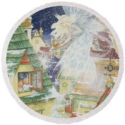 Snow Fairy Round Beach Towel