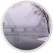 Snow From Lewis Island Bridge Round Beach Towel
