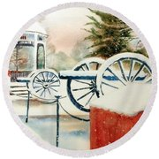 Snow II Round Beach Towel