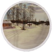 Snow In Solbrinken Round Beach Towel