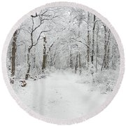 Snow In The Park Round Beach Towel