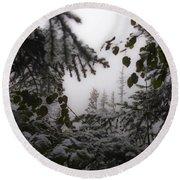Snow In Trees At Narada Falls Round Beach Towel