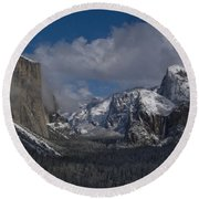 Snow Kissed Valley Round Beach Towel