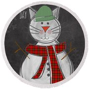 Snow Kitten Round Beach Towel by Linda Woods