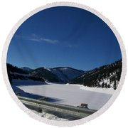 Snow Lake Round Beach Towel by Jewel Hengen