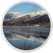 Snow Lake Reflections Round Beach Towel
