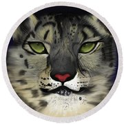 Snow Leopard - The Eyes Have It Round Beach Towel