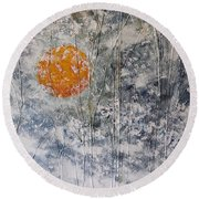 Snow Like A White Fleece Round Beach Towel