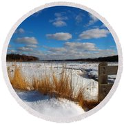 Round Beach Towel featuring the photograph Snow Marsh by Dianne Cowen