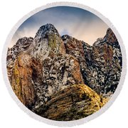 Round Beach Towel featuring the photograph Snow On Peaks 45 by Mark Myhaver
