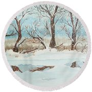 Snow On The Ema River 2 Round Beach Towel