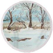 Snow On The Ema River 2 Round Beach Towel