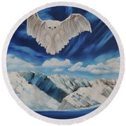 Snow Owl Round Beach Towel