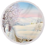 Snow Path Round Beach Towel by Inese Poga