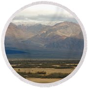Round Beach Towel featuring the photograph Snow Peaks by Stuart Litoff