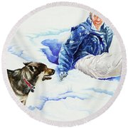 Snow Play Sadie And Andrew Round Beach Towel