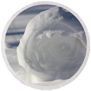 Snow Roller In Late Afternoon Round Beach Towel