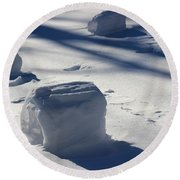 Snow Roller Trio In Shadows Round Beach Towel
